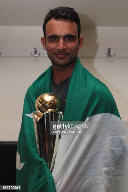 Fakhar Zaman of Pakistan celebrates with the ICC CHampions Trophy after his team beat India during the ICC Champions Trophy Final between Pakistan...