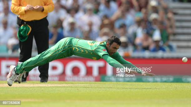 Fakhar Zaman of Pakistan dives to try and stop the ball during the ICC Champions Trophy final match between India and Pakistan at the Kia Oval...