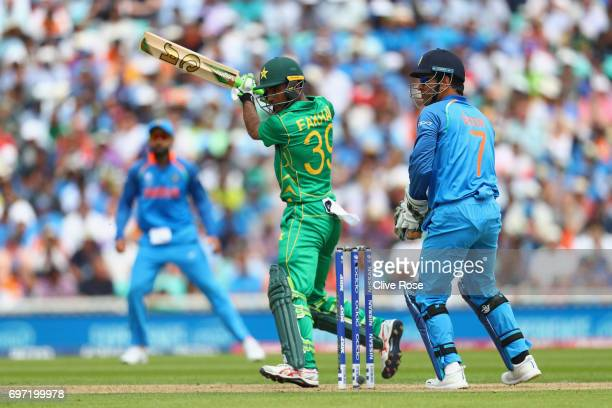 Fakhar Zaman of Pakistan hits a four during the ICC Champions trophy cricket match between India and Pakistan at The Oval in London on June 18 2017