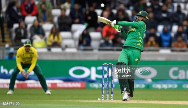 Fakhar Zaman of Pakistan hits out during the ICC Champions Trophy match between South Africa and Pakistan at Edgbaston on June 7 2017 in Birmingham...