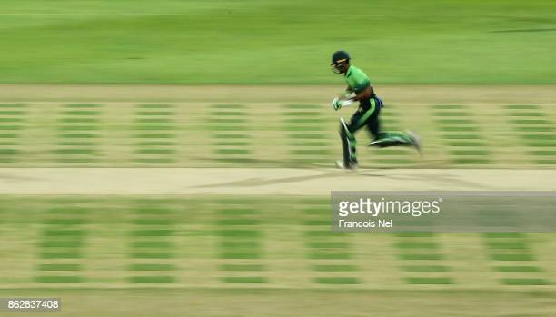 Fakhar Zaman of Pakistan in action during the third One Day International match between Pakistan and Sri Lanka at Zayed Cricket Stadium on October 18...