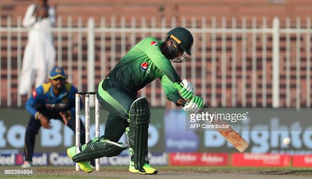 Fakhar Zaman of Pakistan plays a shot during the fifth one day international cricket match between Sri Lanka and Pakistan at Sharjah Cricket Stadium...