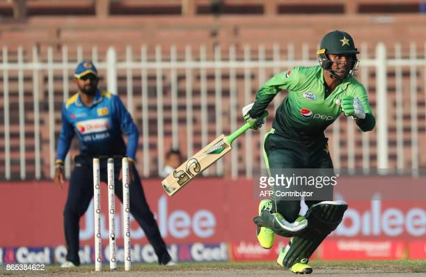 Fakhar Zaman of Pakistan runs between wickets during the fifth one day international cricket match between Sri Lanka and Pakistan at Sharjah Cricket...