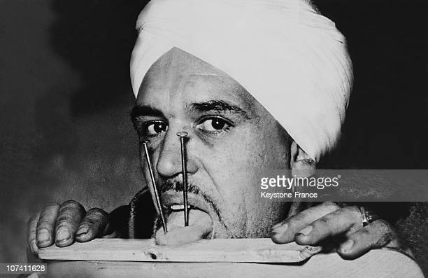 Fakir With Two Nails Knocked Into His Tongue On 1950