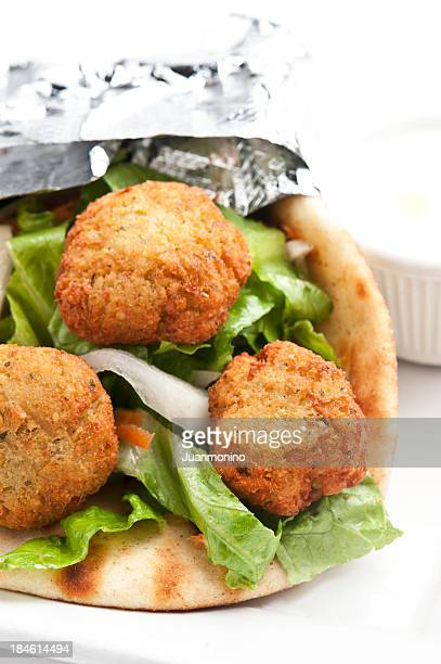 Falafel in pita bread sandwich