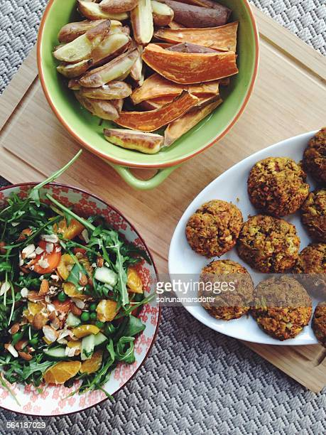 Falafels, roasted sweet potato, potato and salad