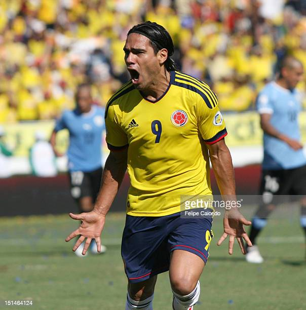 Falcao Garcia of Colombia celebrates a goal during a match between Colombia and Uruguay as part of the South American Qualifiers for the FIFA Brazil...