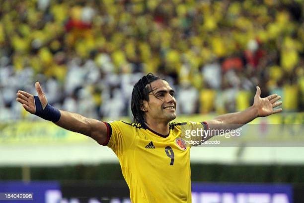 Falcao Garcia of Colombia celebrates a second goal during a match between Colombia and Paraguay as part of the South American Qualifiers for the FIFA...