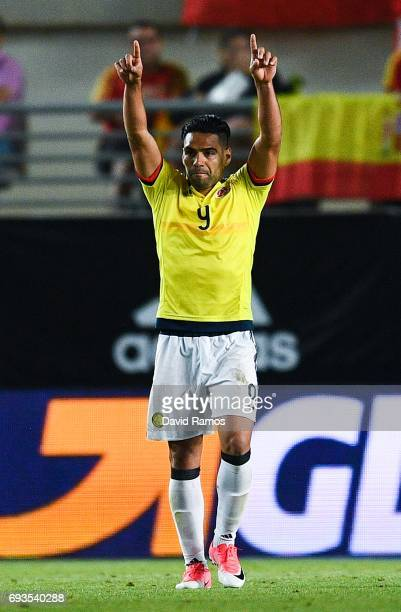 Falcao Garcia of Colombia celebrates after scoring his team's second goal during a friendly match between Spain and Colombia at La Nueva Condomina...
