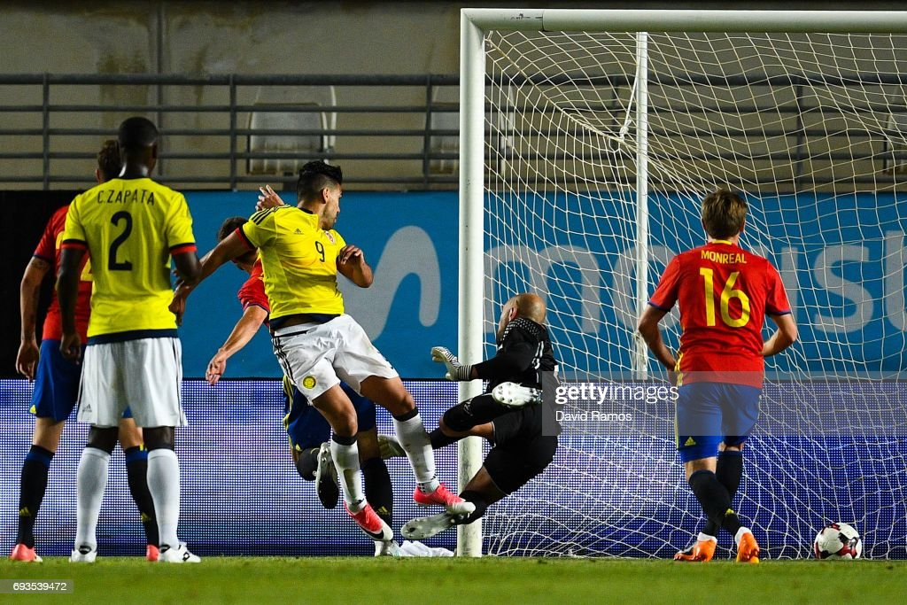 Falcao Garcia of Colombia scores his team's second goal during a friendly match between Spain and Colombia at La Nueva Condomina stadium on June 7, 2017 in Murcia, Spain.