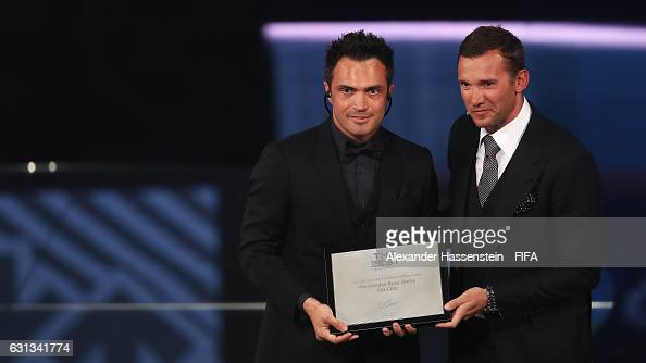 Falcao of Brazil accepts the FIFA Award for Outstanding Career from Andriy Shevchenko during The Best FIFA Football Awards at TPC Studio on January 9...