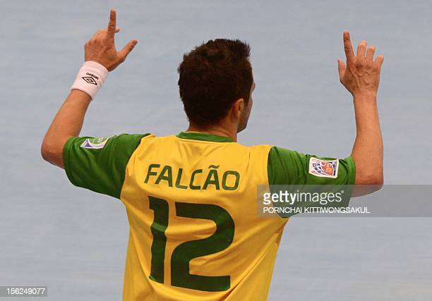 Falcao of Brazil celebrates after scoring a goal against Panama during playoff for quarterfinal match of the FIFA Futsal World Cup 2012 in Nakhon...