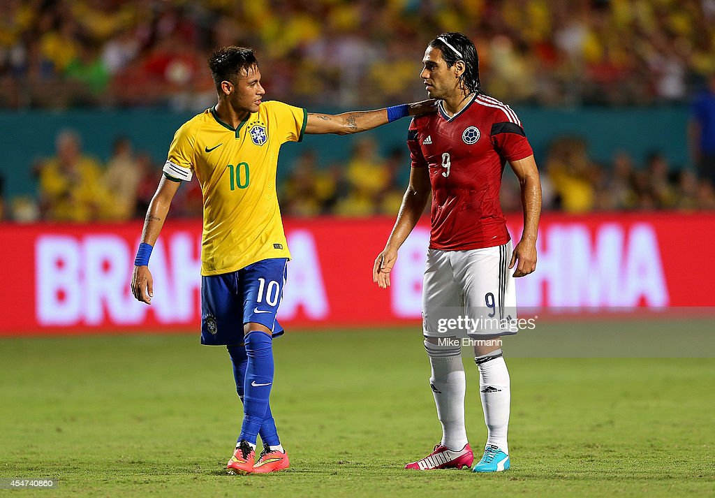 Falcao of Colombia greets Neymar of Brazil during an International Soccer friendly against Brazil at Sun Life Stadium on September 5 2014 in Miami...