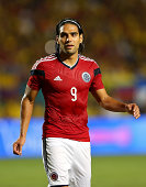 Falcao of Colombia looks on during an International Soccer friendly against Brazil at Sun Life Stadium on September 5 2014 in Miami Gardens Florida