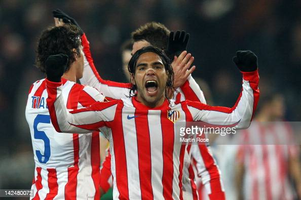 Falcao of Madrid celebrates after the UEFA Europa League quarterfinal second leg match between Hannover 96 and Atletico de Madrid at AWD Arena on...