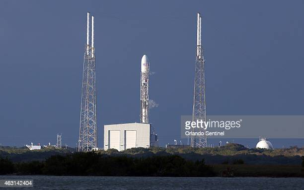 A Falcon 9 rocket remains on the SpaceX launch pad on Tuesday Feb 10 after the launch was scrubbed Tuesday night due to upper level winds NOAA's Deep...
