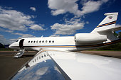 A Falcon 2000 Business Jet is fully prepared and waiting for passengers in St. Petersburg, Russia.