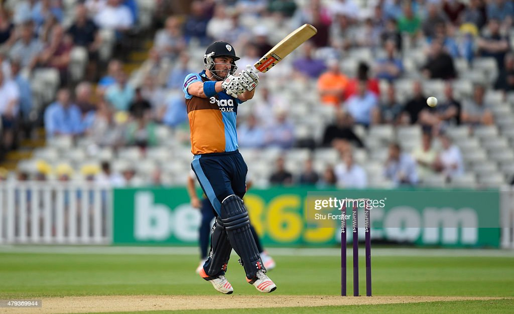 Falcons batsman Hamish Rutherford hits out during the NatWest T20 Blast match between Birmingham Bears and Derbyshire Falcons at Edgbaston on July 3...