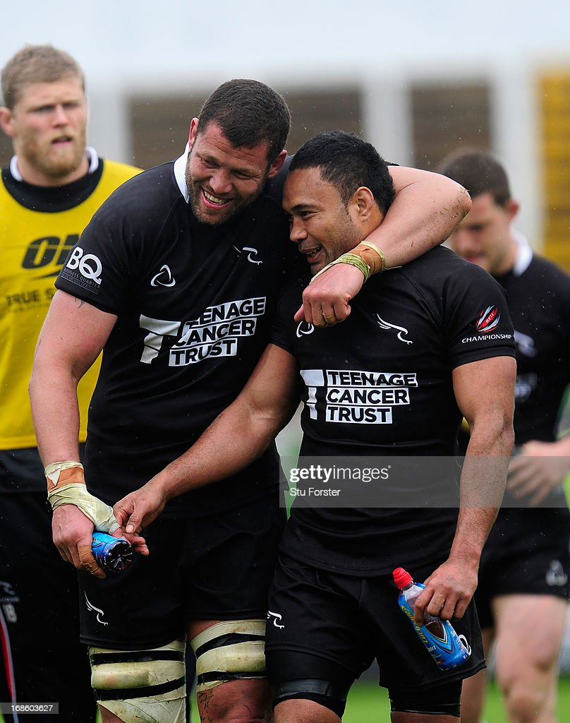 Falcons centre Suka Hufanga (r) celebrates with Carlo Del Fava after the RFU Championship Play Off Semi Final Second Leg between Newcastle Falcons and Leeds Carnegie at Kingston Park on May 12, 2013 in Newcastle upon Tyne, England.