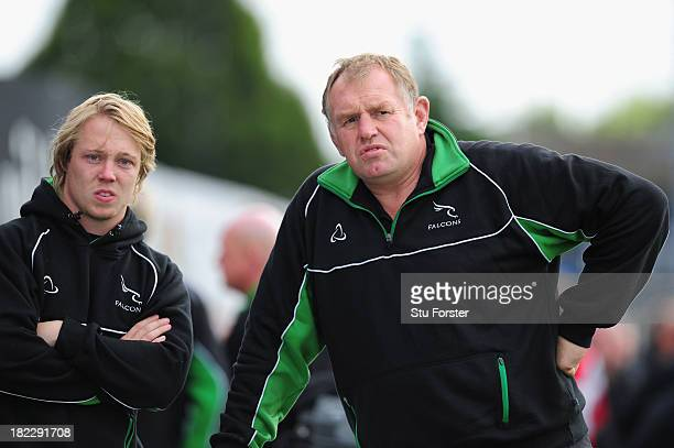 Falcons Director of Rugby Dean Richards and player Joel Hodgson look on before the Aviva Premiership match between Newcastle Falcons and Gloucester...
