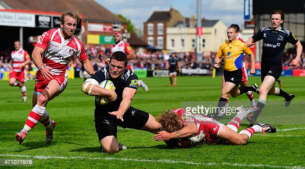 Falcons forward Mark Wilson crosses for the first Newcastle try during the Aviva Premiership match between Gloucester Rugby and Newcastle Falcons at...