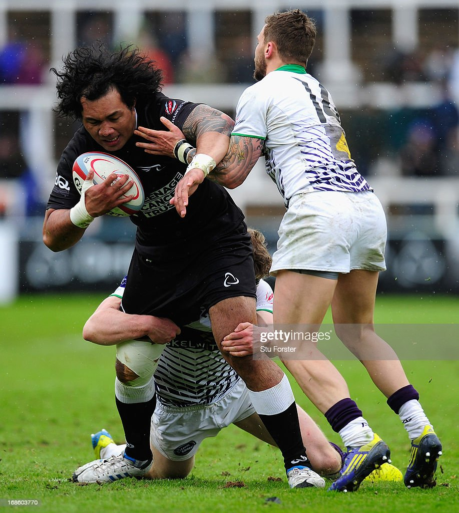 Falcons forward Taiasina Tu'ifua charges forward during the RFU Championship Play Off Semi Final Second Leg between Newcastle Falcons and Leeds Carnegie at Kingston Park on May 12, 2013 in Newcastle upon Tyne, England.