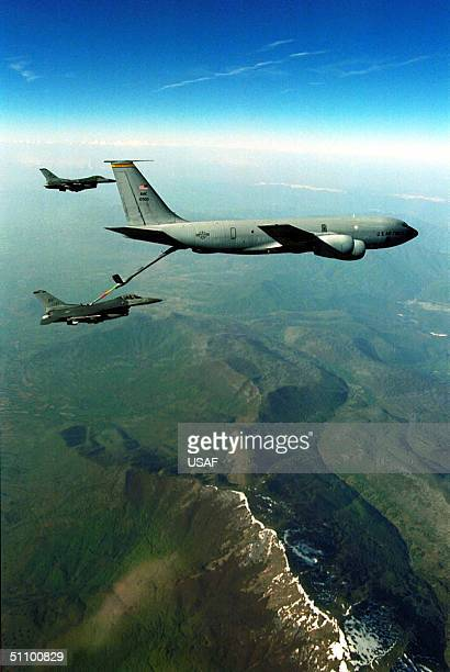 Falcons From The 510Th Fighter Squadron Aviano Air Base Italy Take Fuel From A Kc135 Over Northern Bosnia As Part Of A Combat Air Patrol Mission In...