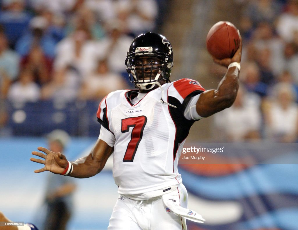 Falcons Michael Vick throws during first half action between the Atlanta Falcons and the Tennessee Titans on August 26 2006 at The Coliseum in...