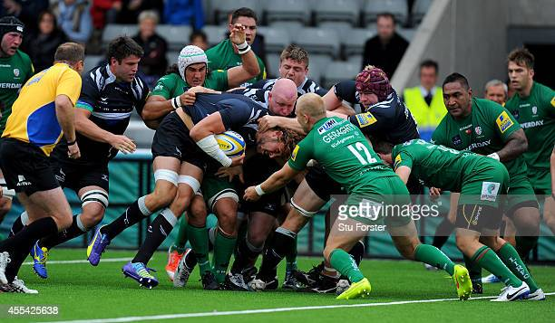 Falcons player Josh Furno carries the ball over for the first Falcons try during the Aviva Premiership match between Newcastle Falcons and London...