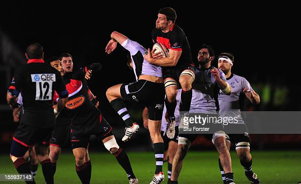 Falcons player Mark Wilson wins a high ball during the RFU Championship match between Newcastle Falcons and Nottingham Rugby at Kingston Park on...