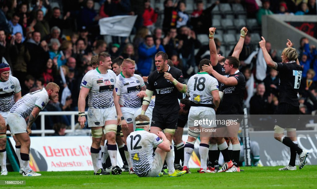 Falcons players celebrate on the final whistle after winning the game and tie after the RFU Championship Play Off Semi Final Second Leg between Newcastle Falcons and Leeds Carnegie at Kingston Park on May 12, 2013 in Newcastle upon Tyne, England.