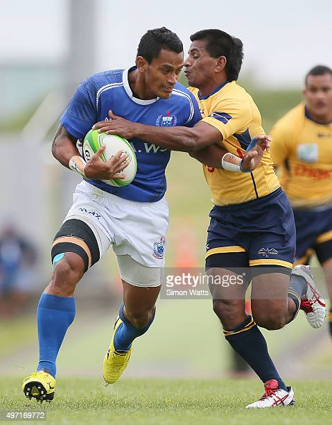 Fale So'oialo of Samoa is tackled during the World Sevens Oceania Olympic Qualification match between Samoa Papua New Guinea on November 15 2015 in...