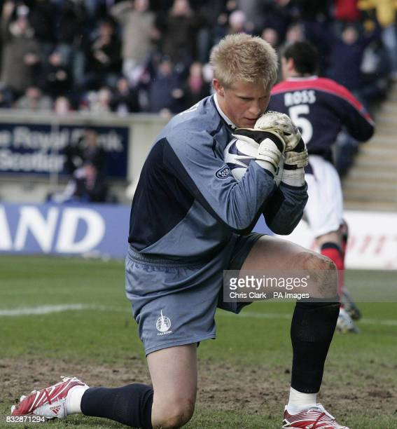 Falkirk goal keeper Kasper Schmeichel after saving Craig Beattie's penalty during the Bank of Scotland Premier League match at Falkirk Stadium Falkirk
