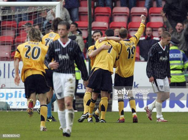 Falkirk players celebrate Pedro Moutinho's goal during the Bank of Scotland Premier League match at East End Park Dunfermline Fife