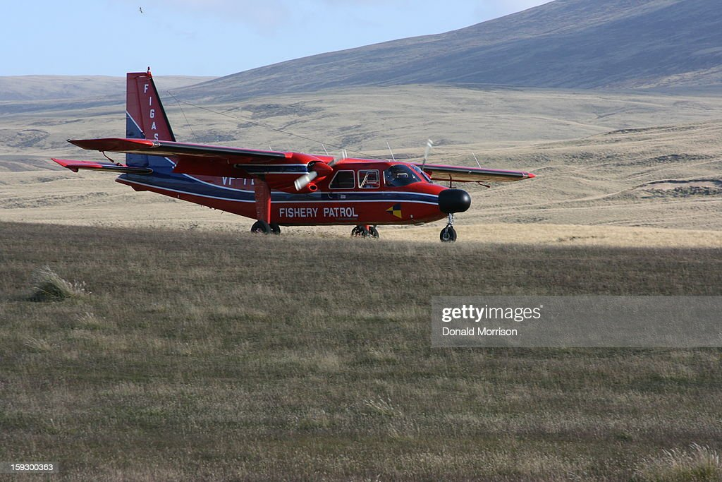 CONTENT] Falkland Island Government Air Service run service around the Islands. Islander plane in red livery