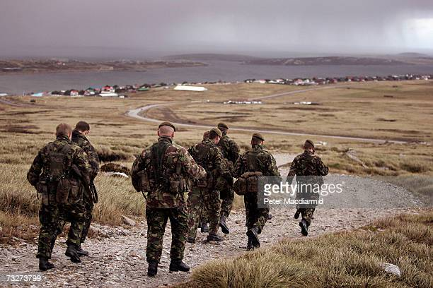 Falklands Islands Defence Force soldiers prepare to go on a training exercise on Sapper Hill on February 1 2007 in Stanley Falkland Islands The...