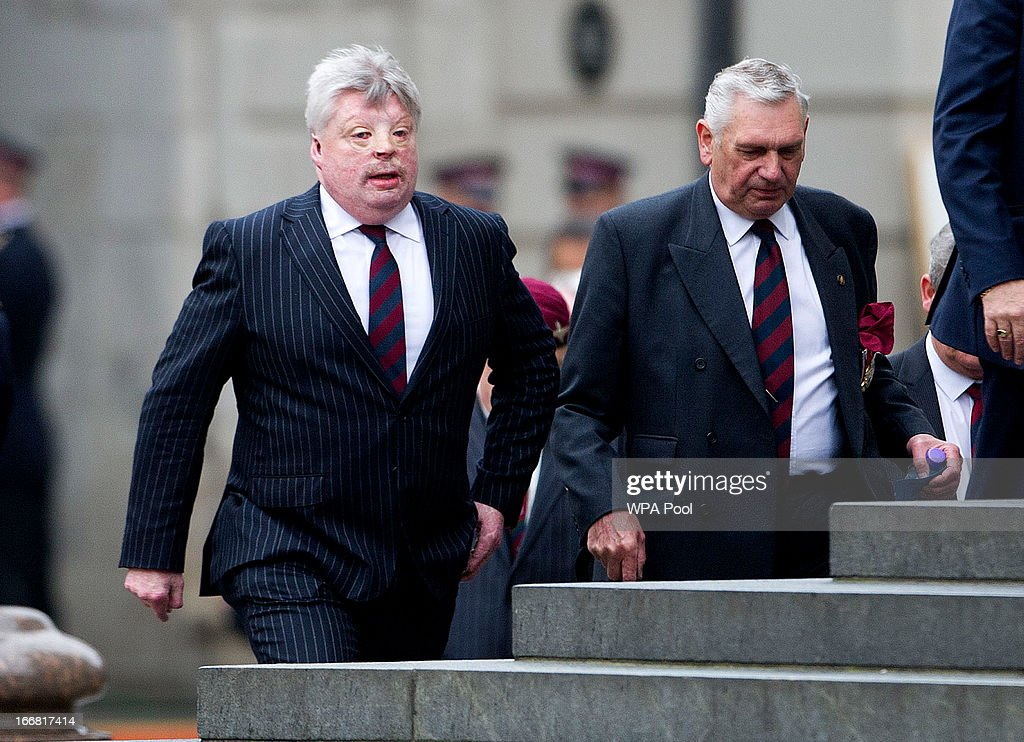 Falklands War Veteran, Simon Weston attends the Ceremonial funeral of former British Prime Minister Baroness Thatcher, St Paul's Cathedral on April 17, 2013 in London, England. Dignitaries from around the world today join Queen Elizabeth II and Prince Philip, Duke of Edinburgh as the United Kingdom pays tribute to former Prime Minister Baroness Thatcher during a Ceremonial funeral with military honours at St Paul's Cathedral. Lady Thatcher, who died last week, was the first British female Prime Minister and served from 1979 to 1990.