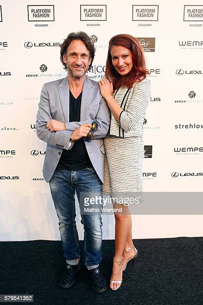 FalkWilly Wild and Mara Bergmann attend the Platform Fashion Selected show during Platform Fashion July 2016 at Areal Boehler on July 24 2016 in...