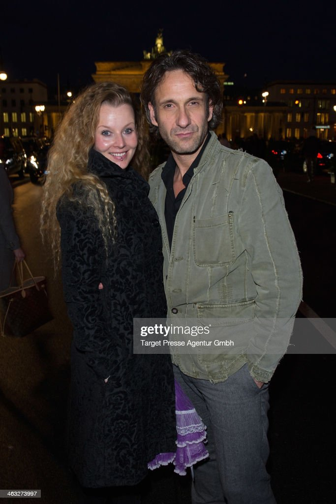 Falk-Willy Wild and Vaile Fuchs arrive to the Irene Luft show during Mercedes-Benz Fashion Week Autumn/Winter 2014/15 at Brandenburg Gate on January 17, 2014 in Berlin, Germany.