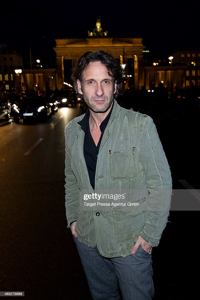 Falk-Willy Wild arrives to the Irene Luft show during Mercedes-Benz Fashion Week Autumn/Winter 2014/15 at Brandenburg Gate on January 17, 2014 in Berlin, Germany.
