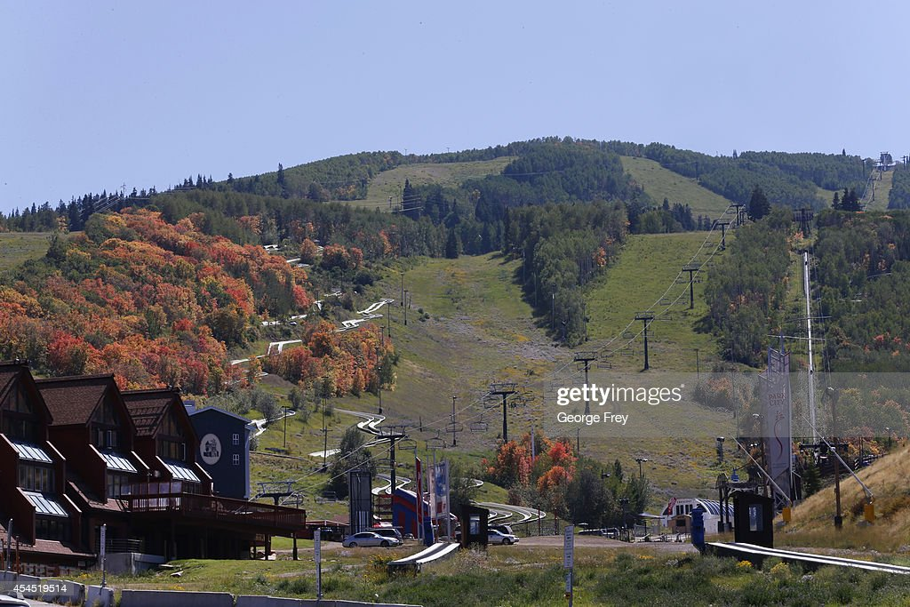 Fall colors start to appear on the mountainside of Park City Mountain Resort on September 2 2014 in Park City Utah The Park City ski resort is locked...
