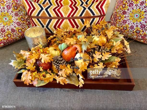 Fall decor on a tray