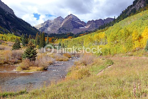 Fall Foliage With Aspen Trees Maroon Bells Colorado Rocky