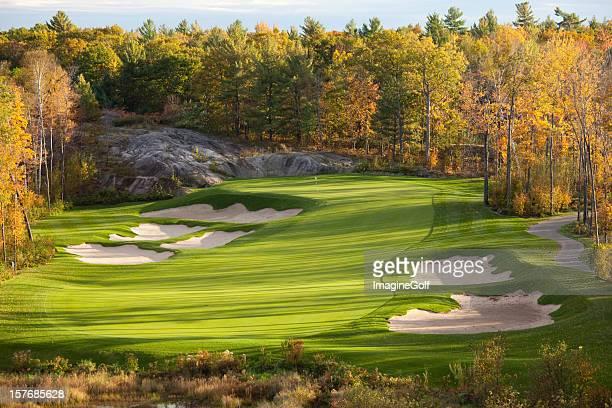 秋のゴルフ景色のマスコーカでオンタリオ地域
