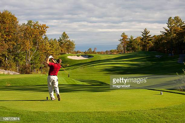 Fall Golf Scenic With Male Caucasian Golfer
