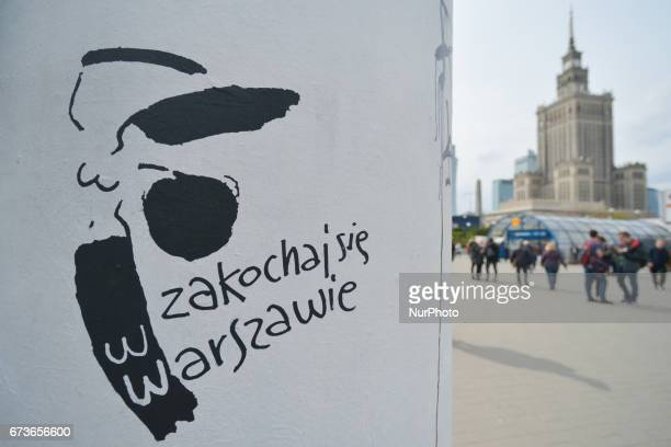 'Fall in love with Warsaw' sign with a view of the Palace of Culture and Science in the background On Tuesday April 26 in Warsaw Poland