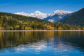 Fall in the Canadian Rockies in British Columbia, Canada at Kinbasket lake, part of the Columbia river system