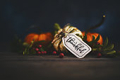 Fall pumpkin arrangement with message of Thanks