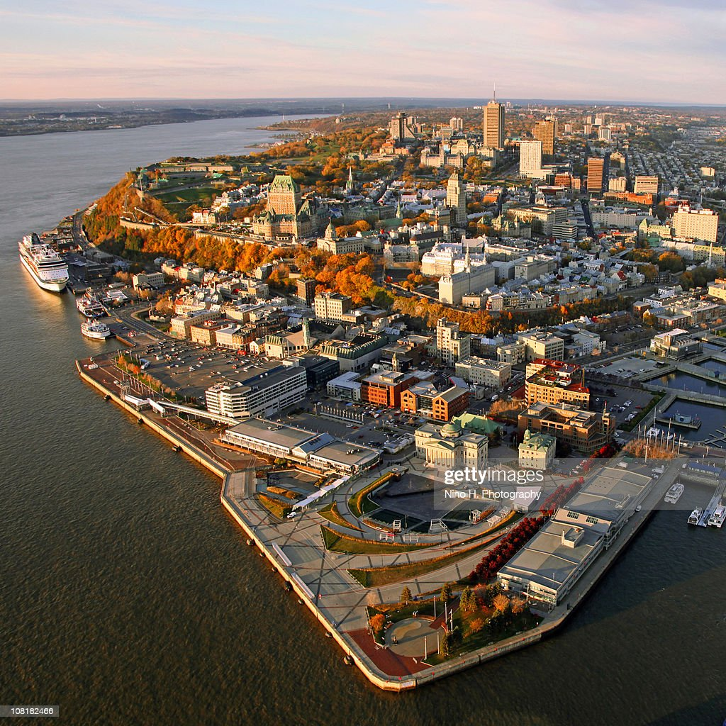 Fall sunrise over Quebec city : Stock Photo