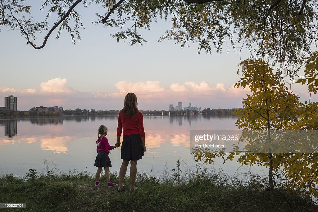 Fall sunset at Lake Calhoun in Minneapolis : Stock Photo